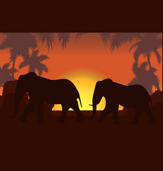 elephants in african savanna at sunset vector image