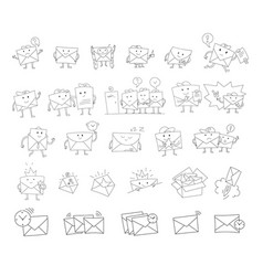 envelope sketch big set hand-drawn character vector image