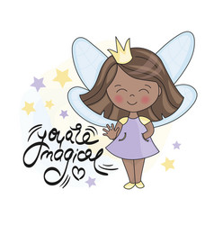 Fairy dark princess and lettering vector