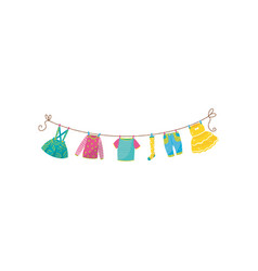 Flat set of children s clothes on rope vector