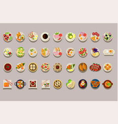 flat set of various dishes detailed food vector image