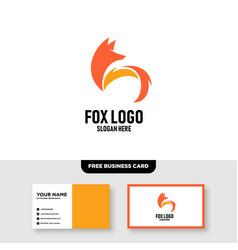 Fox logo template free business card mockup vector