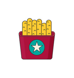 french fries in color flat icon style vector image