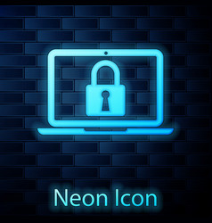 Glowing neon laptop and lock icon isolated on vector