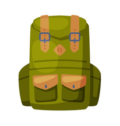 Green backpack front view camping knapsack vector