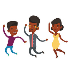 Group of joyful young friends jumping vector
