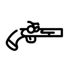Gun weapon pirate line icon vector