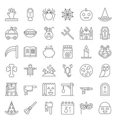 halloween icon set elements thin line design vector image