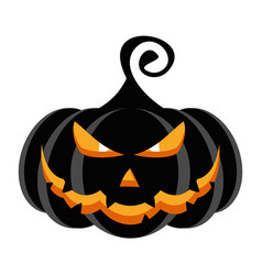 Halloween party character black pumpkin with vector