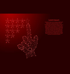 Hand man with index finger putting down rating vector