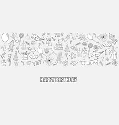 happy birthday doodles objects drawing by hand vector image