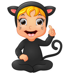 happy little girl wearing cat costume giving thumb vector image