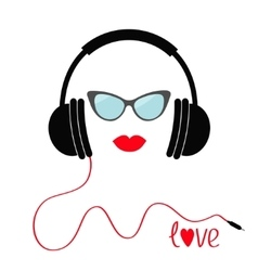 Headphones with red cord Sunglasses and lips Love vector
