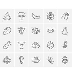 Healthy food sketch icon set vector image