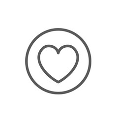 heart in circle valentine day line icon vector image