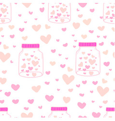heart in mason jars pattern background vector image