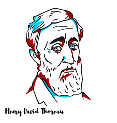 henry david thoreau portrait vector image