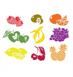 Icon set of various fruit vector