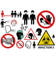 Infectious threat icons and symbols vector