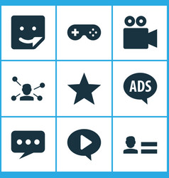 internet icons set with game chat favorite and vector image