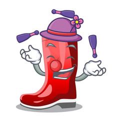 Juggling muddy farmer boots shape the cartoon vector