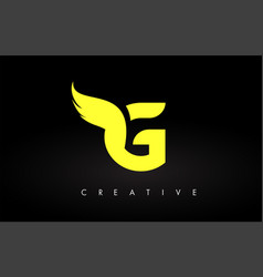 Letter g logo with yellow colors and wing design vector