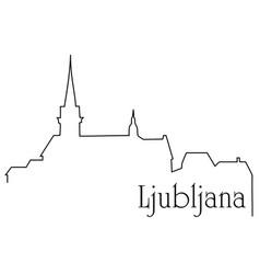 Ljubljana city one line drawing background vector
