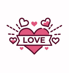 love lettering on heart valentine day symbol vector image