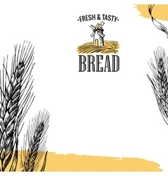 Mill Wheat field Ears Engraving vector image