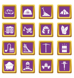 miner icons set purple vector image