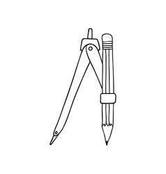 Monochrome contour of compass with pencil vector