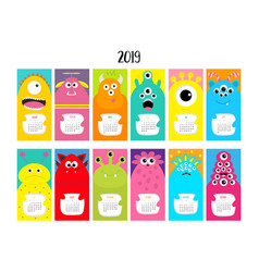 Monster vertical monthly calendar 2019 cute funny vector