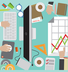 office workers desk with office supply vector image