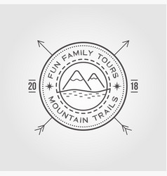 outdoor logo design template with mountains vector image