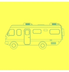 Outline travel van isolated on yellow background vector