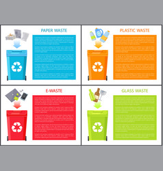 Paper plastic and glass waste vector