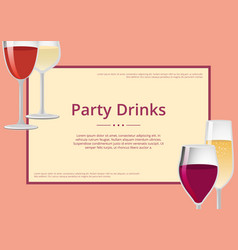 Party drinks red wine and champagne glasses set vector