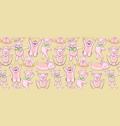pattern with funny pigs a set of pigs engaged in vector image
