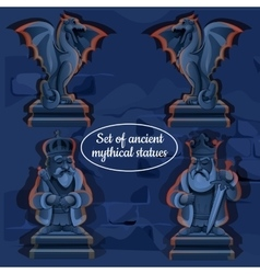 Picture ice mystical ancient statues vector image