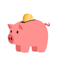 piggy bank with gold coin vector image