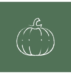 Pumpkin icon drawn in chalk vector
