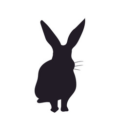 rabbit sits silhouette vector image
