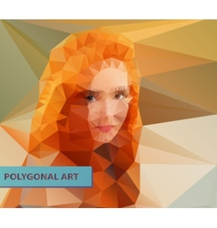 Red headed girl abstract polygonal face Triangles vector