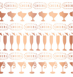 Rose gold foil cocktail glass pattern vector