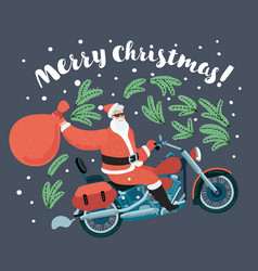 santa claus carries sack of gifts on motorcycle vector image