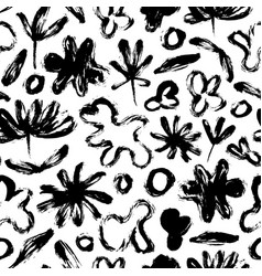 seamless pattern with abstract flowers and shapes vector image