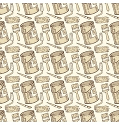 Seamless Pattern with Paint and Roller vector image