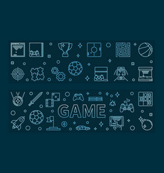 set 2 game blue outline banners games vector image