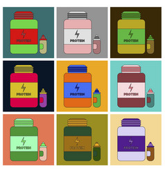 Set of icons in flat design bank of protein vector