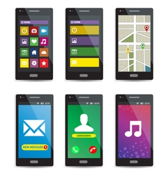 Set of modern touchscreen smartphones with applica vector image